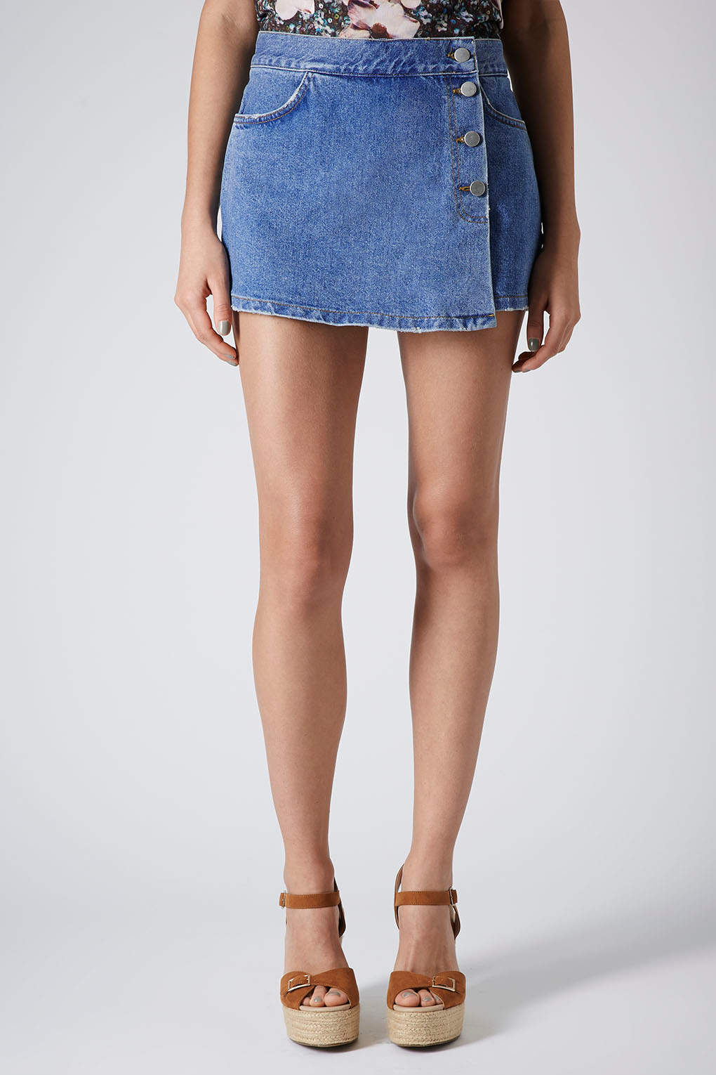 Lyst topshop moto denim skort in blue for Womens denim shirts topshop