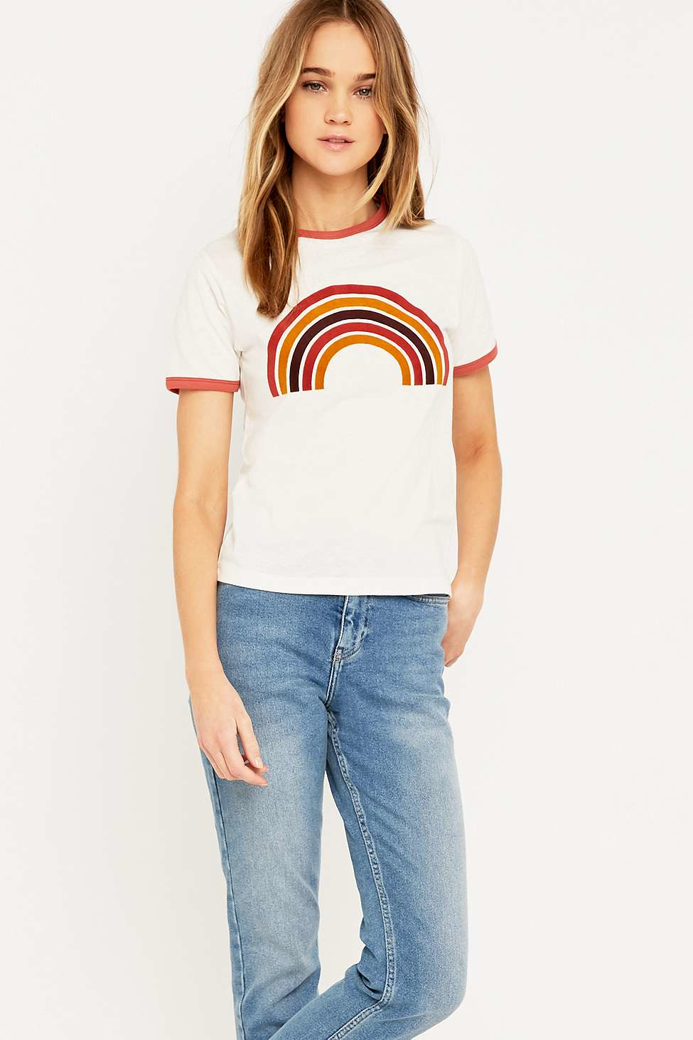 a9dc3bcc Urban Outfitters Retro Rainbow Ringer T-shirt in White - Lyst