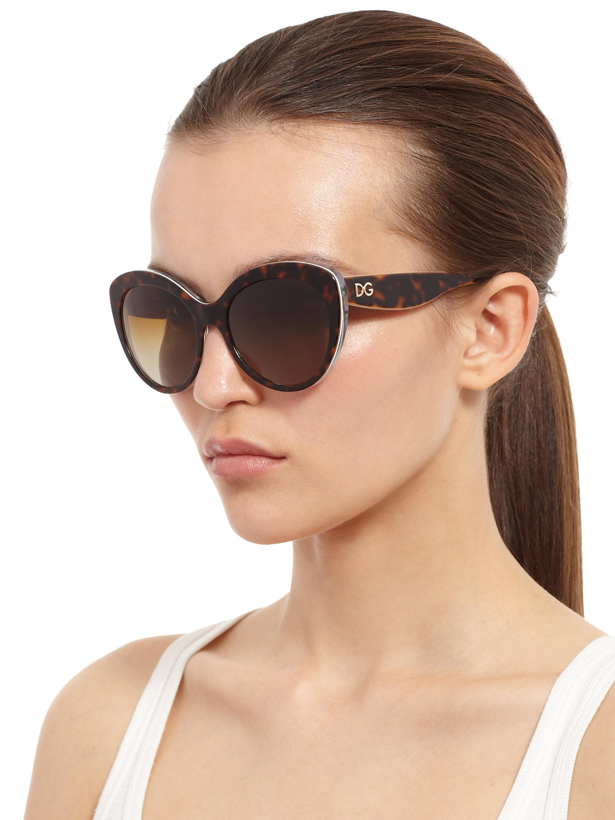 Lyst - Dolce & Gabbana Multi-Print Cat'S-Eye Sunglasses in