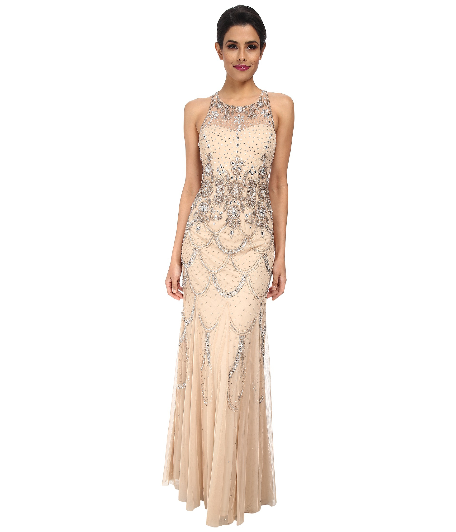 papell halter fully beaded gown in beige
