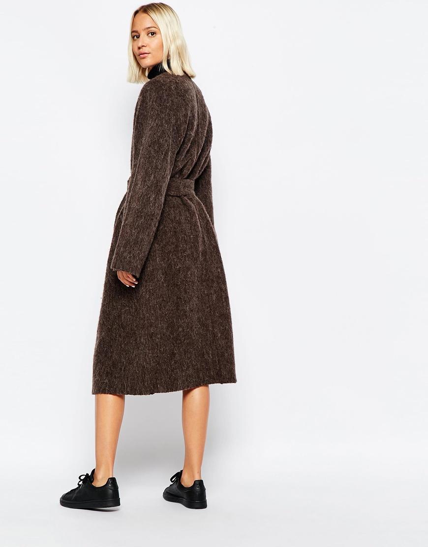 Weekday Belted Hairy Coat In Brown Burgundy Lyst