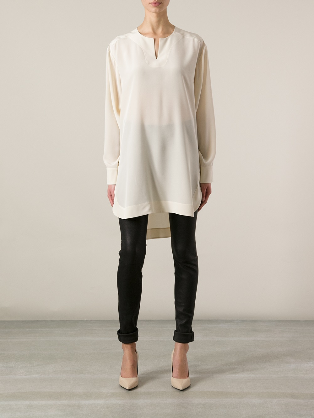 Chloé Tunic Blouse in White | Lyst
