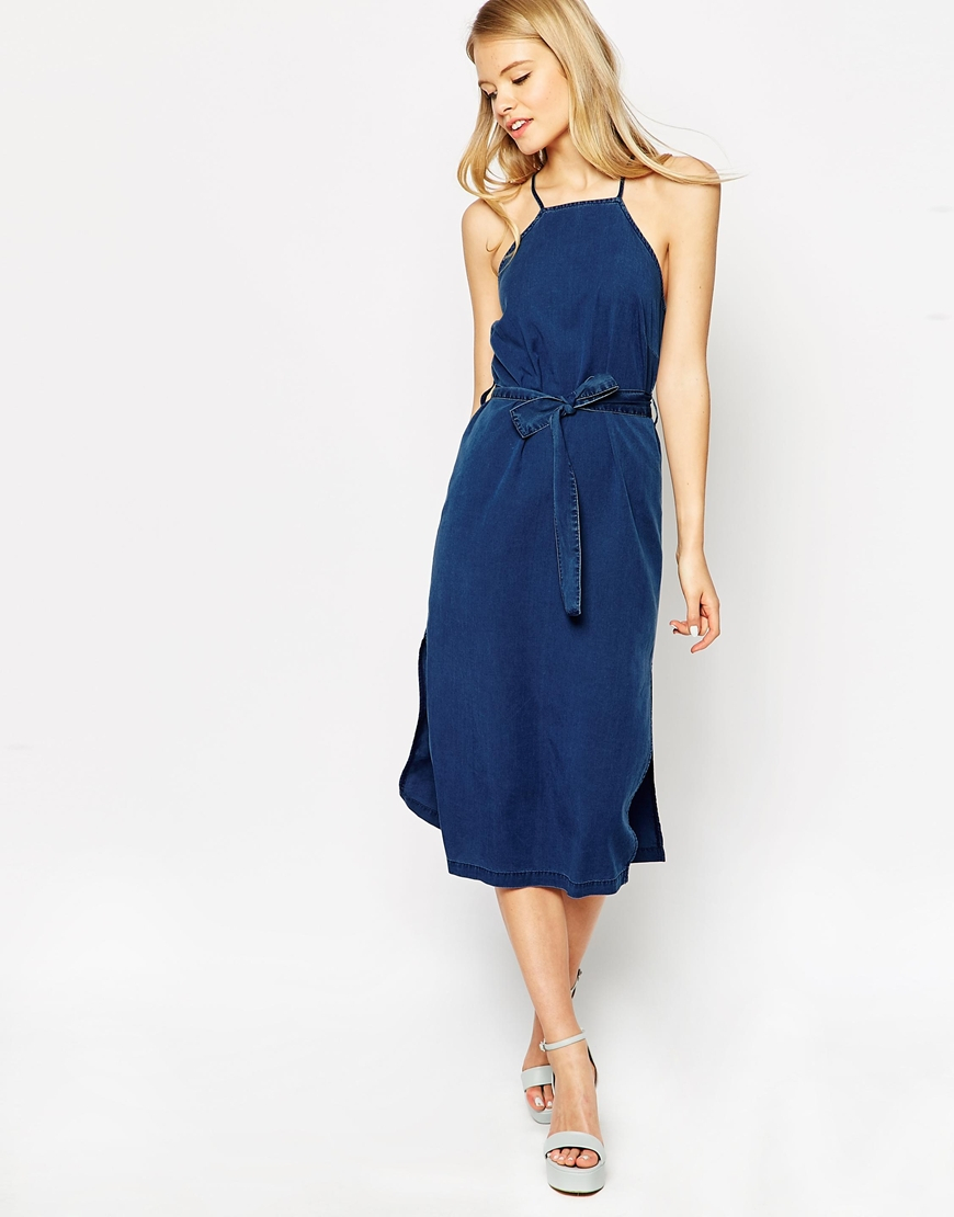 f0379d83c670 ... famous brand 68b36 986af Lyst - Asos Denim Cross Back Halter Midi Dress  With Tie in ...