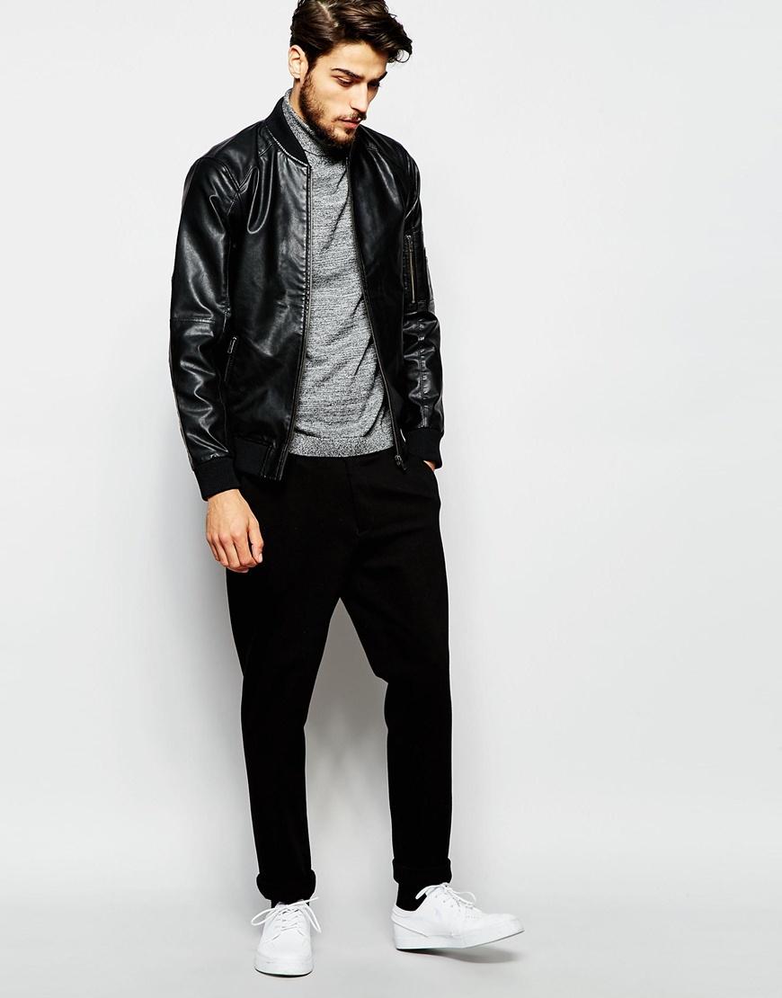 Produkt Faux Leather Bomber Jacket - Black in Black for Men | Lyst