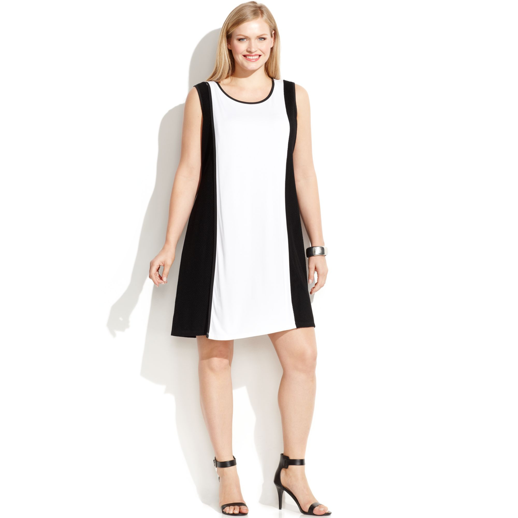 Calvin Klein Plus Size Sleeveless Colorblock Mesh-trim Dress in ...