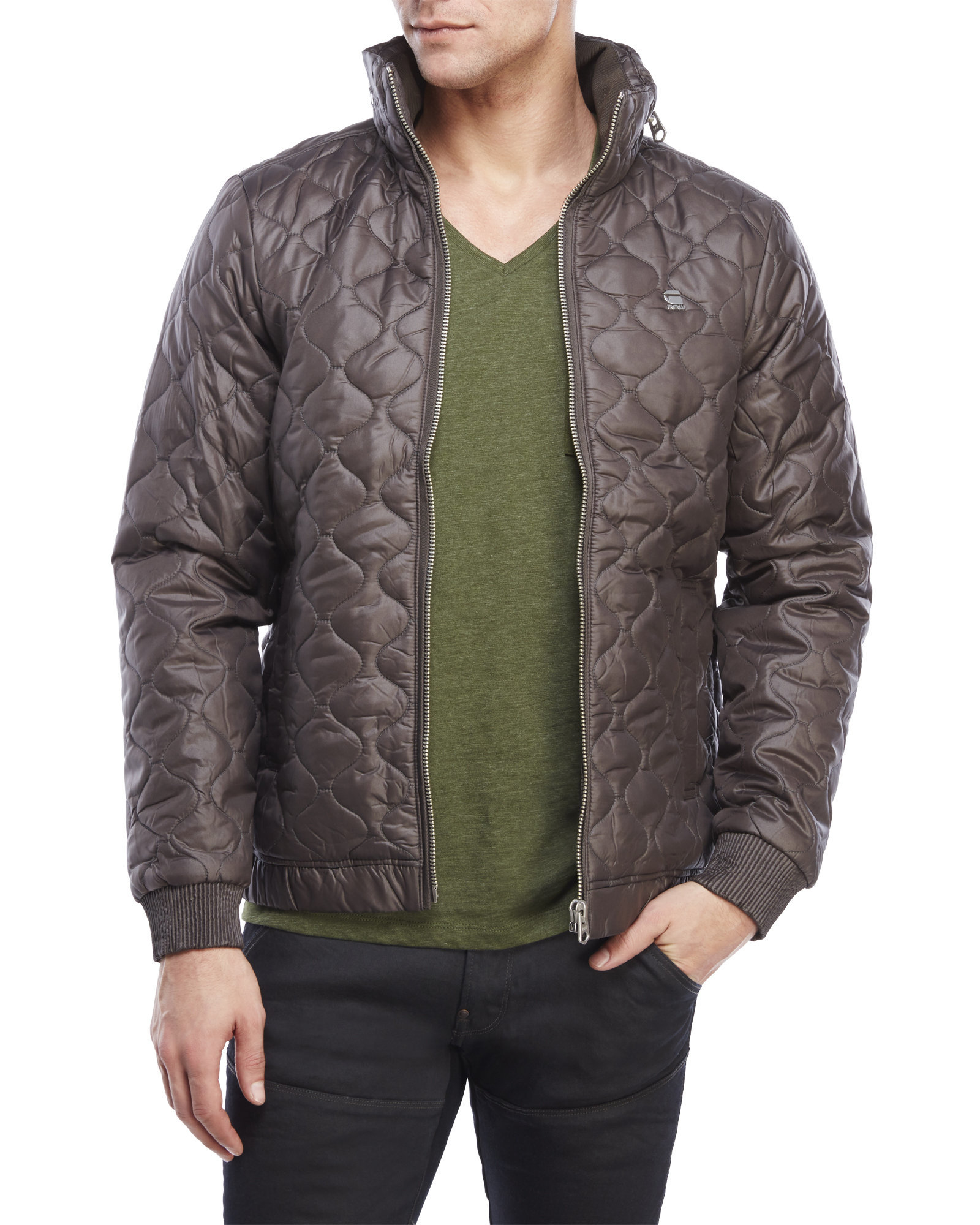 g star raw meefic quilted jacket in brown for men lyst. Black Bedroom Furniture Sets. Home Design Ideas