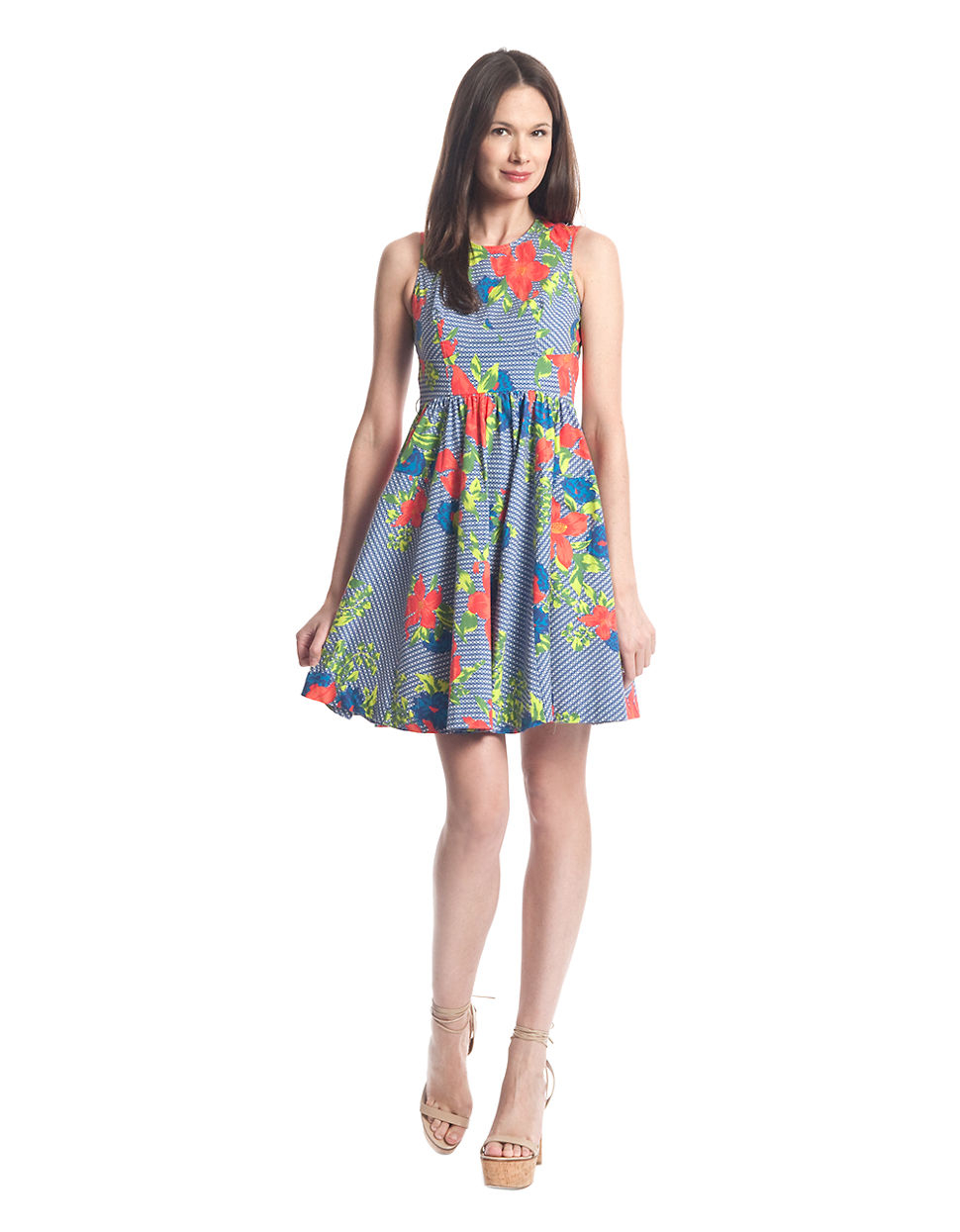 Plenty By Tracy Reese Alana Floral And Stripe Print Dress