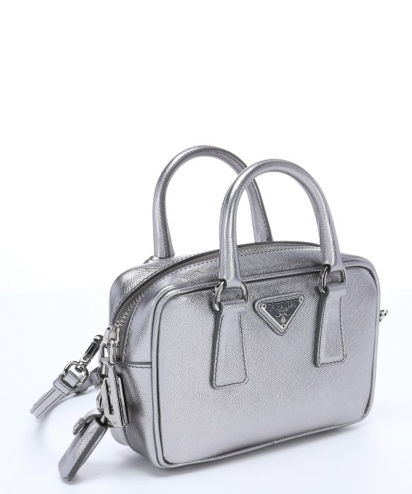 09edf60bbbe1 ... germany lyst prada silver saffiano leather mini convertible top handle  bag in metallic 0c75b 5b8c5