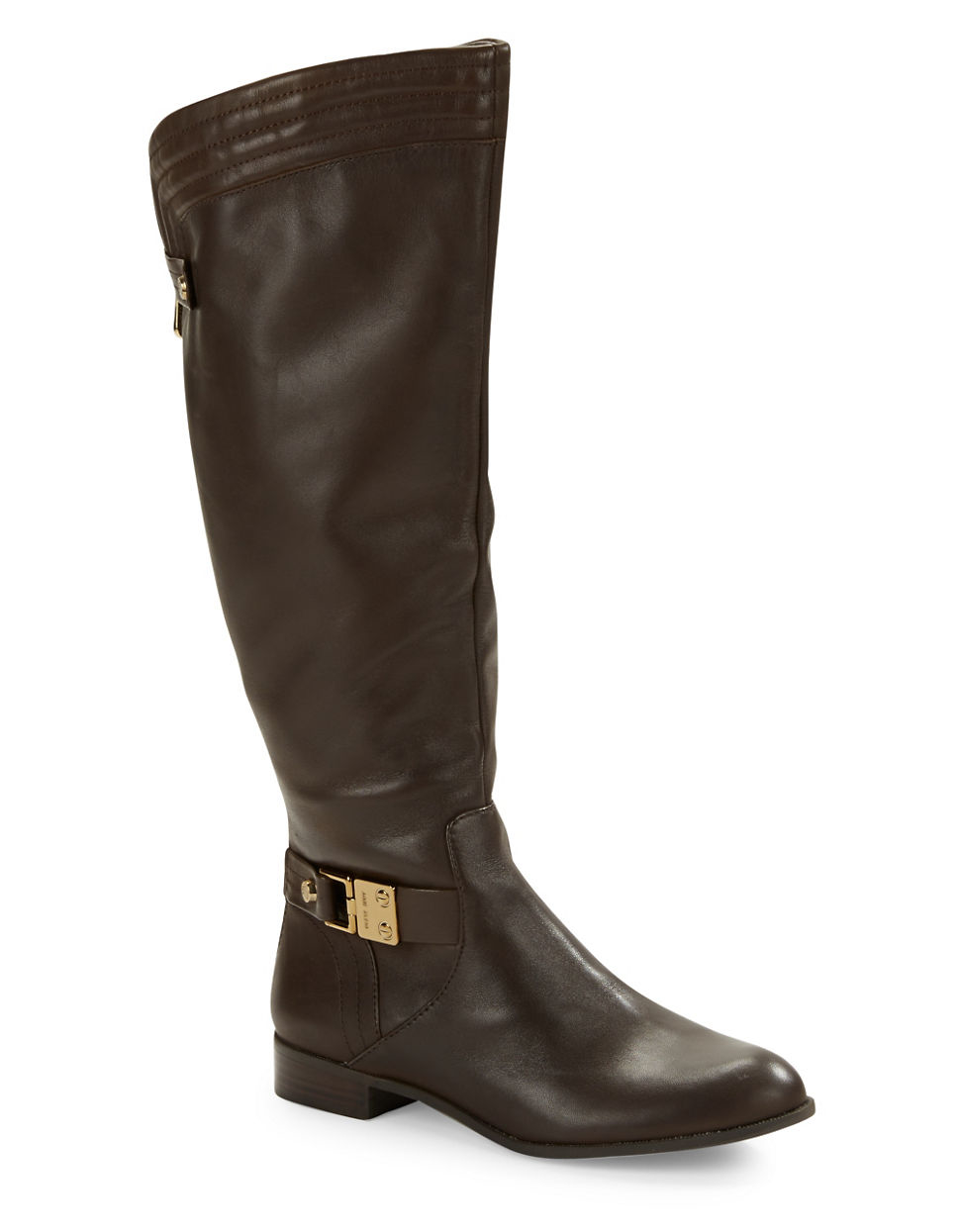 klein kaydon wide calf leather boots in brown lyst