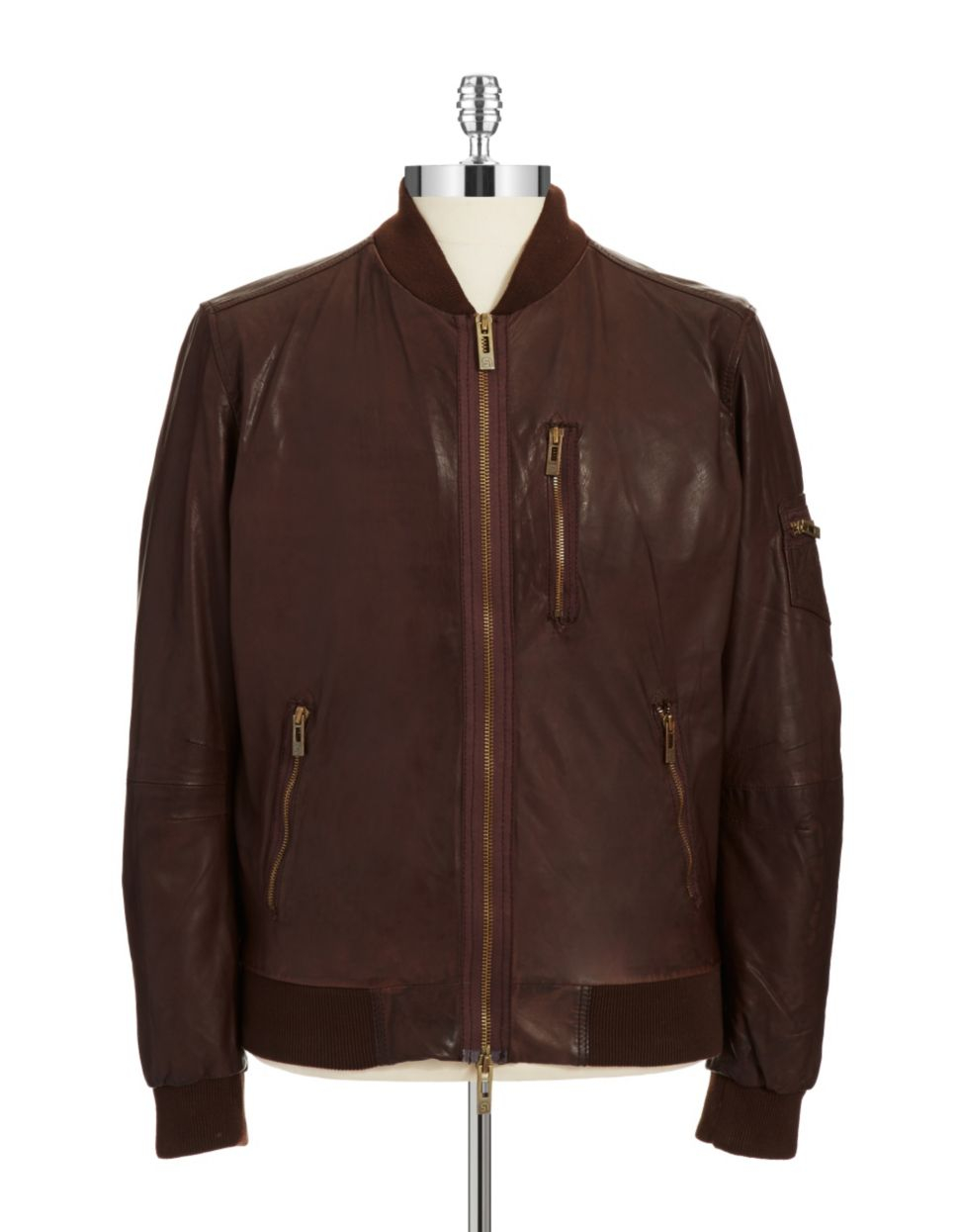 Rogue state Leather Baseball Jacket in Brown for Men | Lyst