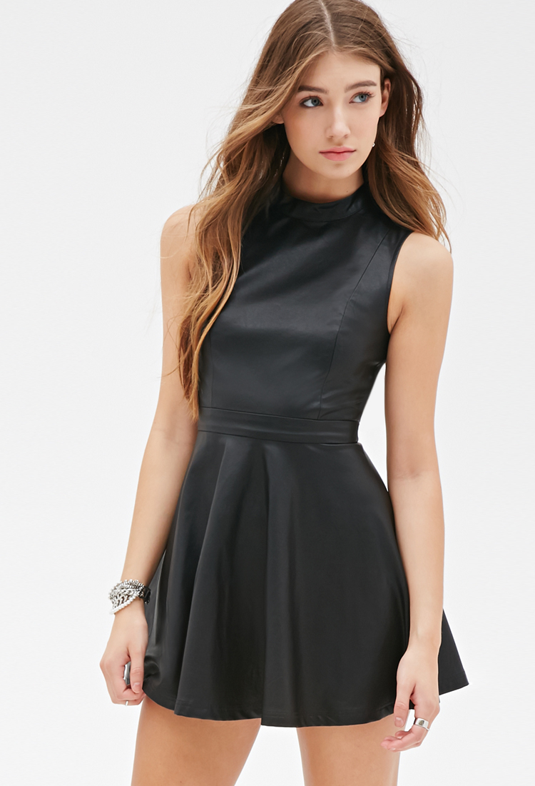 Forever 21 Faux Leather Skater Dress in Black | Lyst - photo #37