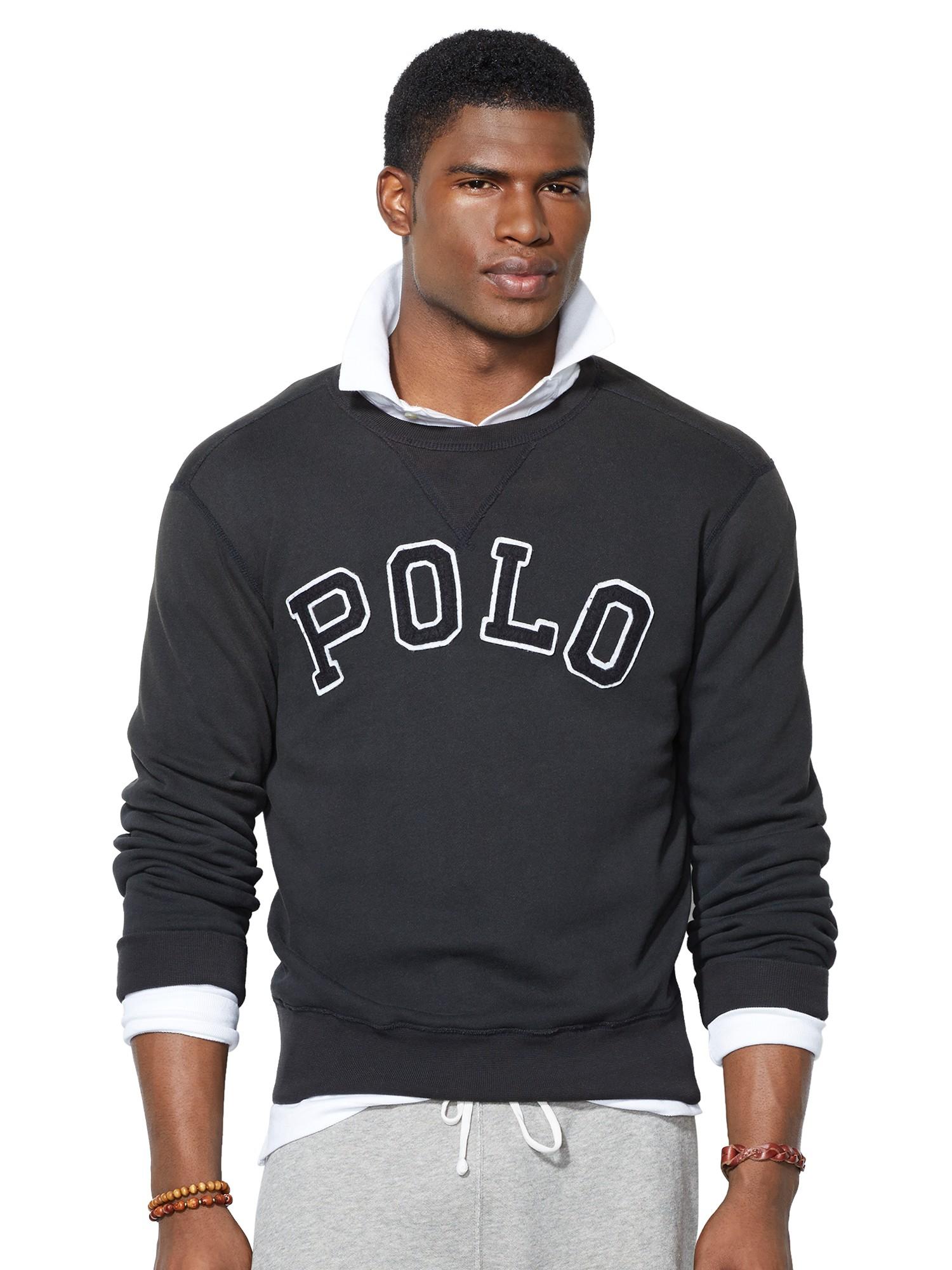 polo ralph lauren logo sweatshirt in black for men lyst. Black Bedroom Furniture Sets. Home Design Ideas