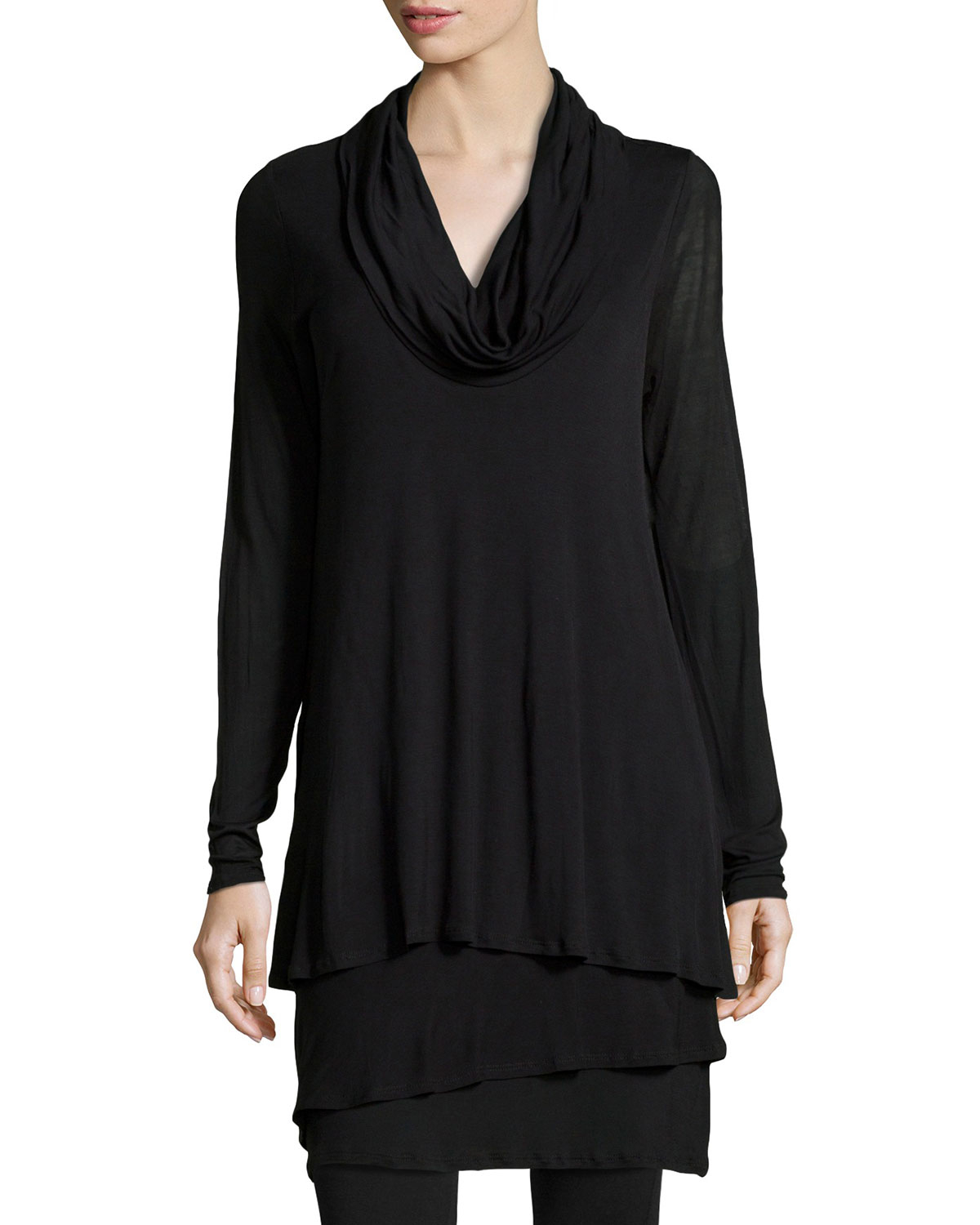 4bd03d6004d32 Lyst - Neiman Marcus Cowl-Neck Tiered Tunic in Black