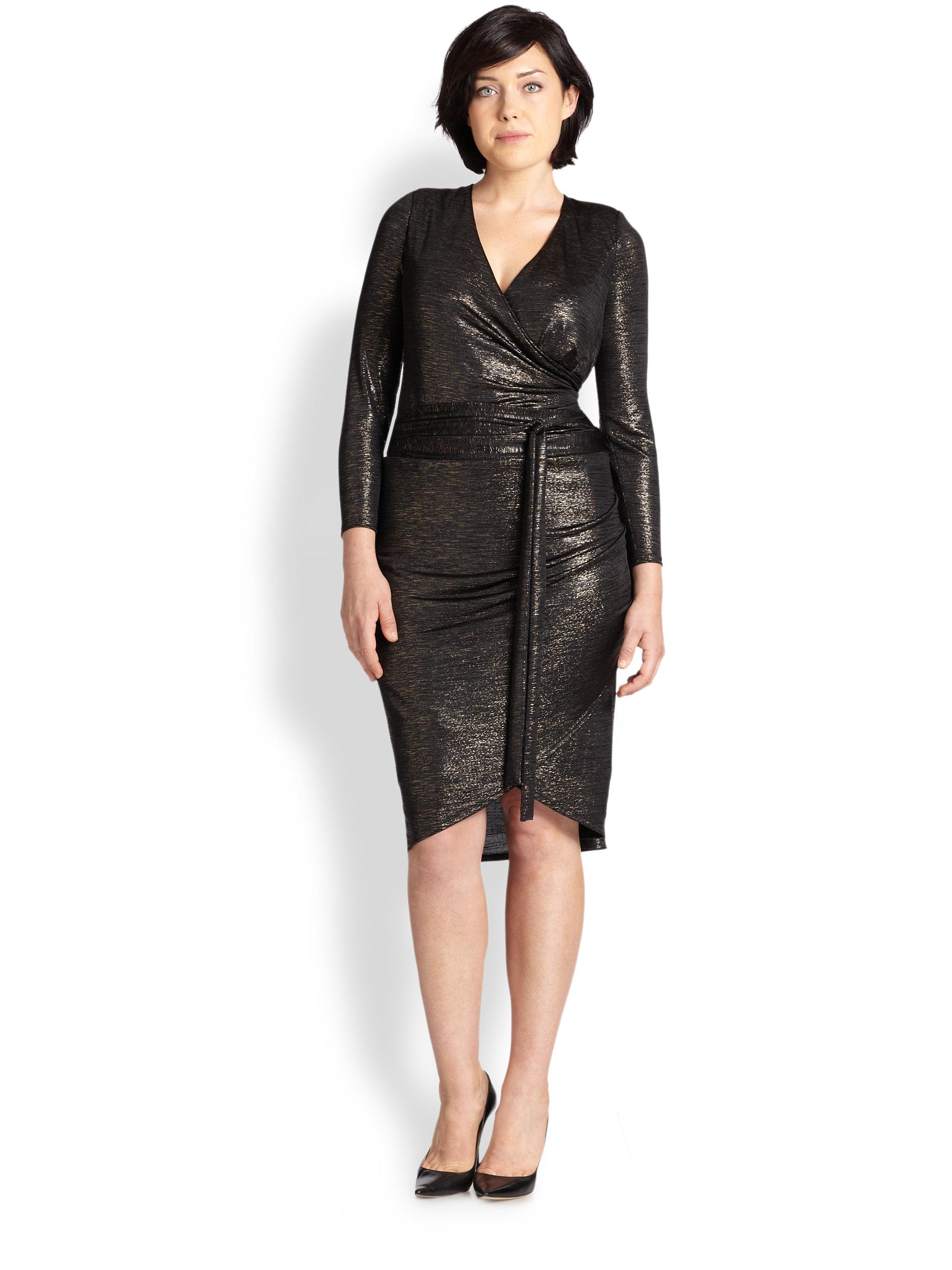 Abs by allen schwartz Long-Sleeve Metallic Wrap Dress in Metallic ...