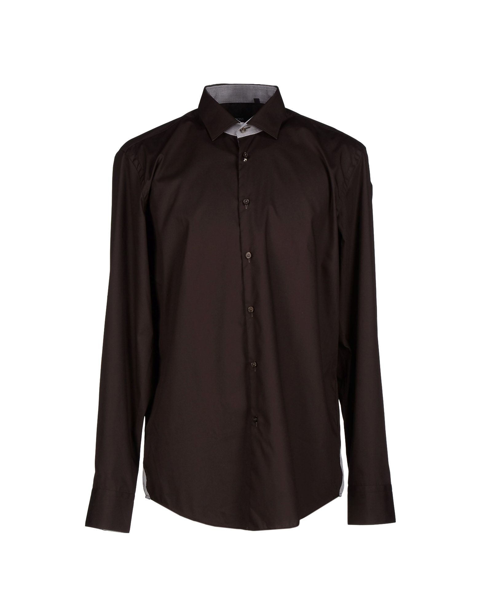 Lyst boss black shirt in brown for men for Black brown mens shirts