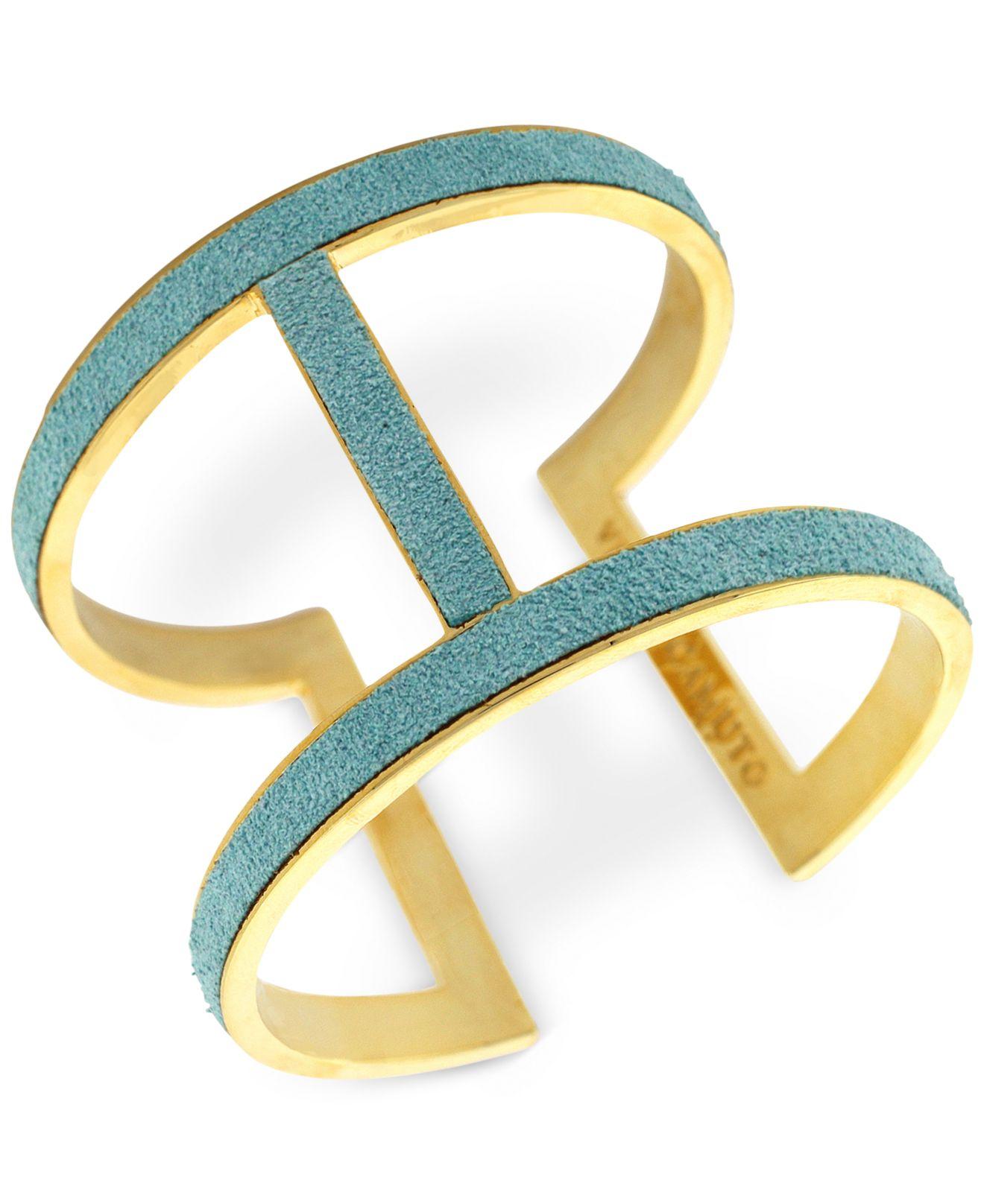 e7adaa86f73 Lyst - Vince Camuto Gold-Tone Suede Inlay T-Bar Cuff Bracelet in Blue