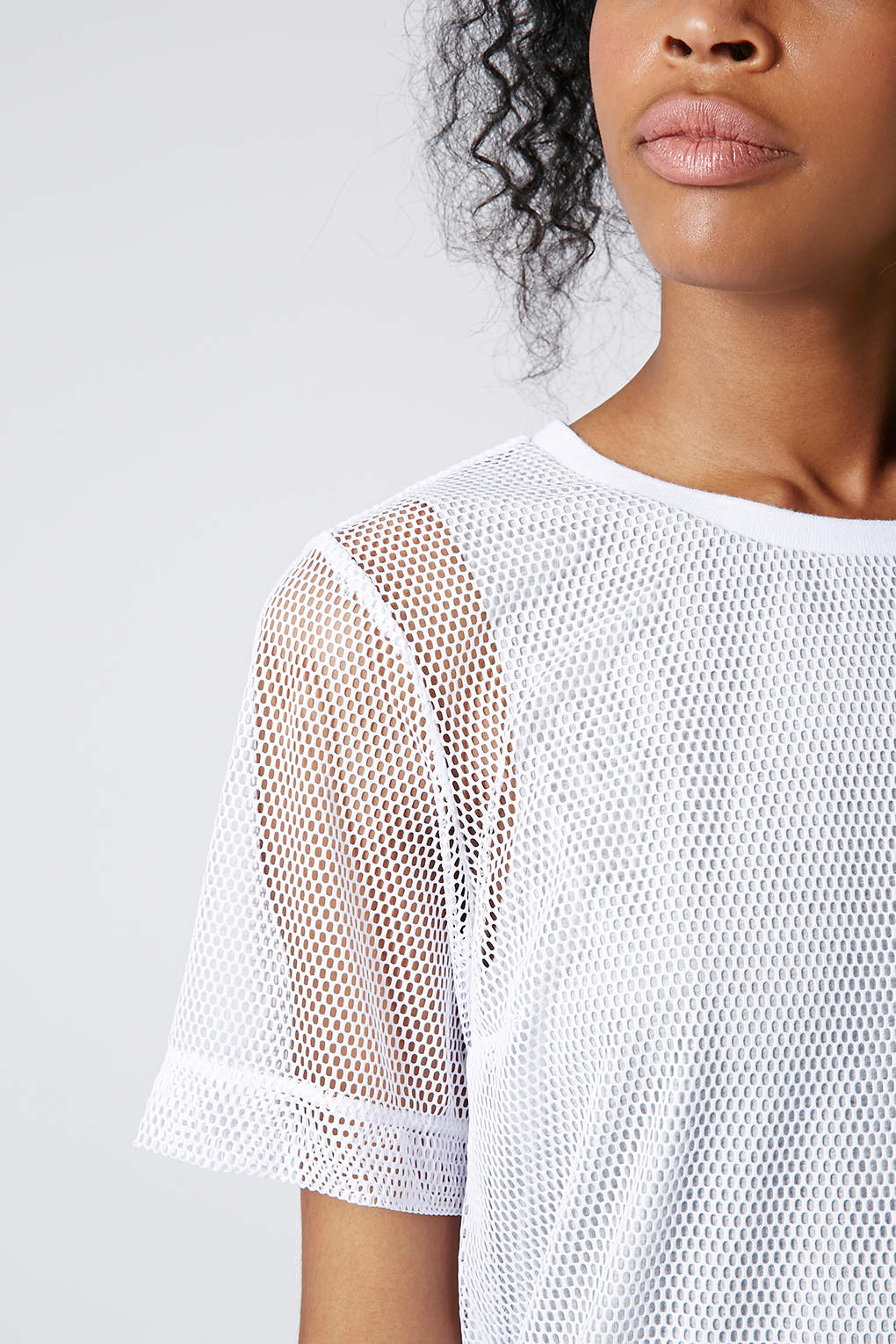 Topshop mesh overlay tshirt dress in white lyst for Womens denim shirts topshop