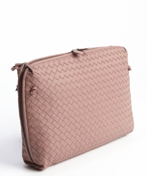 Bottega veneta Pale Pink Intrecciato Leather Side Zipper Detail ...