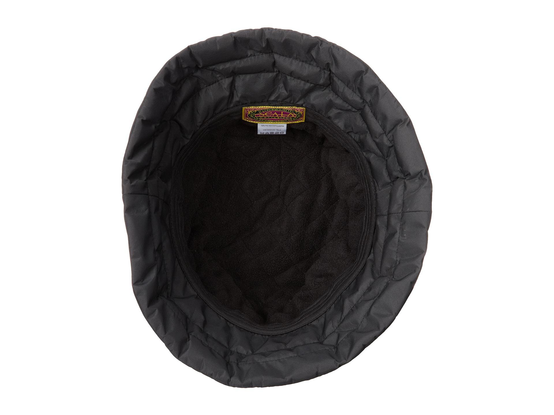 64cf3e8fc3a Lyst - Scala Quilted Rain Bucket Hat W  Fleece Lining in Black