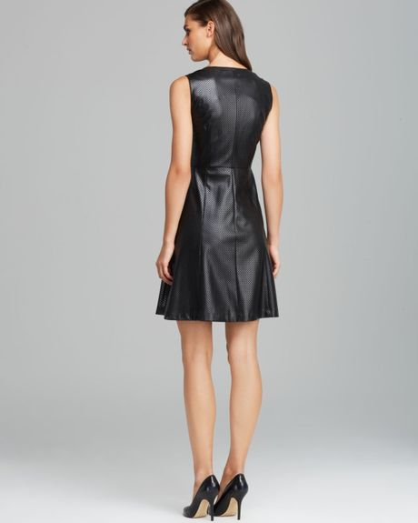 Calvin Klein Perforated Faux Leather Flare Dress In Black