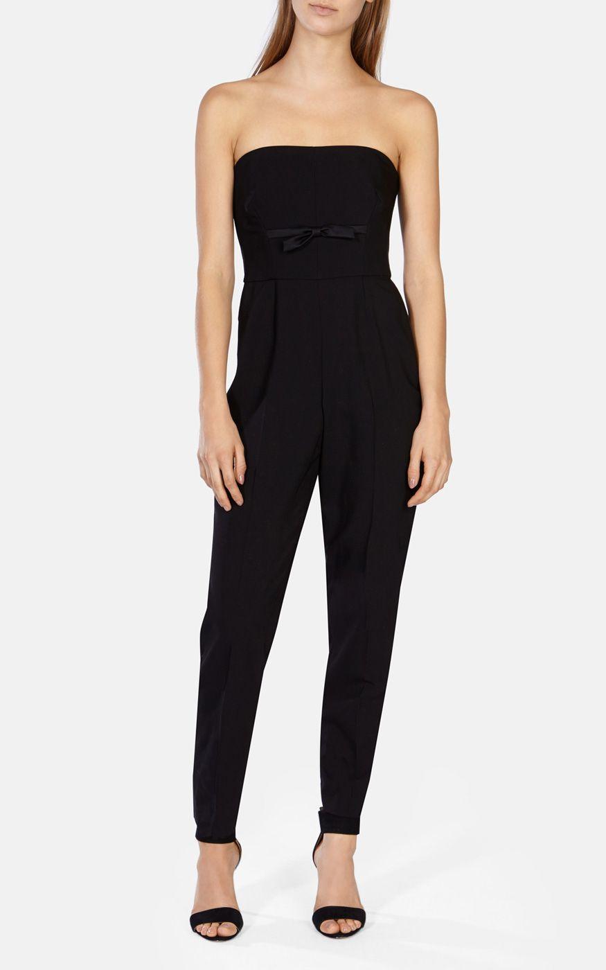 Karen millen Strapless Tailored Jumpsuit in Black | Lyst
