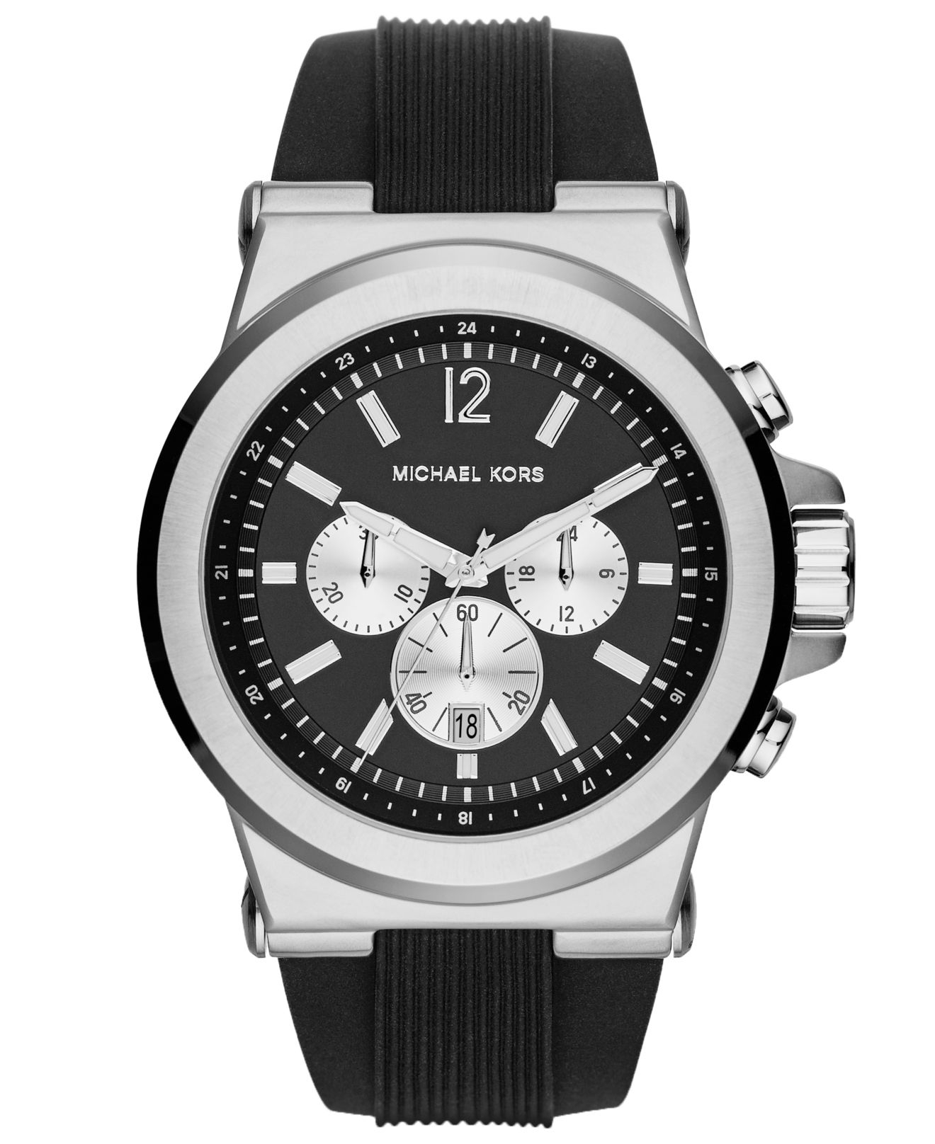 michael kors men s chronograph dylan black silicone strap watch gallery previously at macy s · men s michael kors chronograph