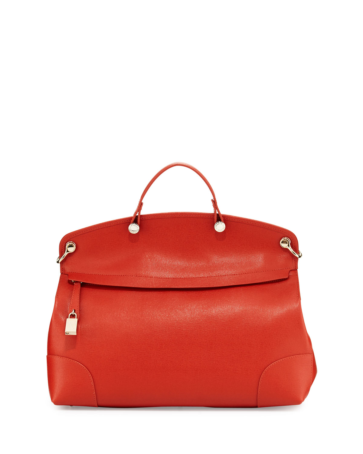Furla Nikole Large Leather Satchel Bag in Orange | Lyst