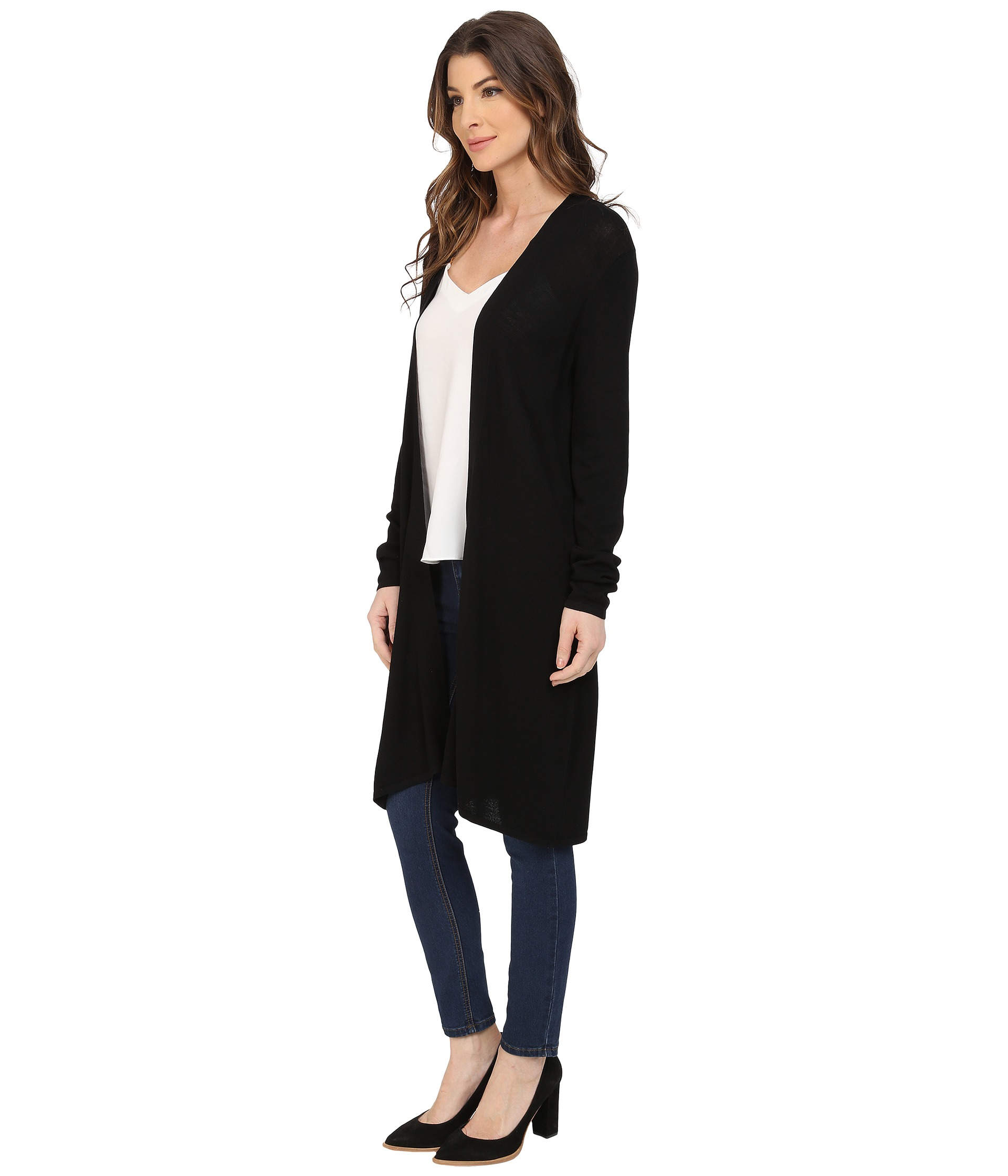 Nydj Duster Cardigan in Black | Lyst