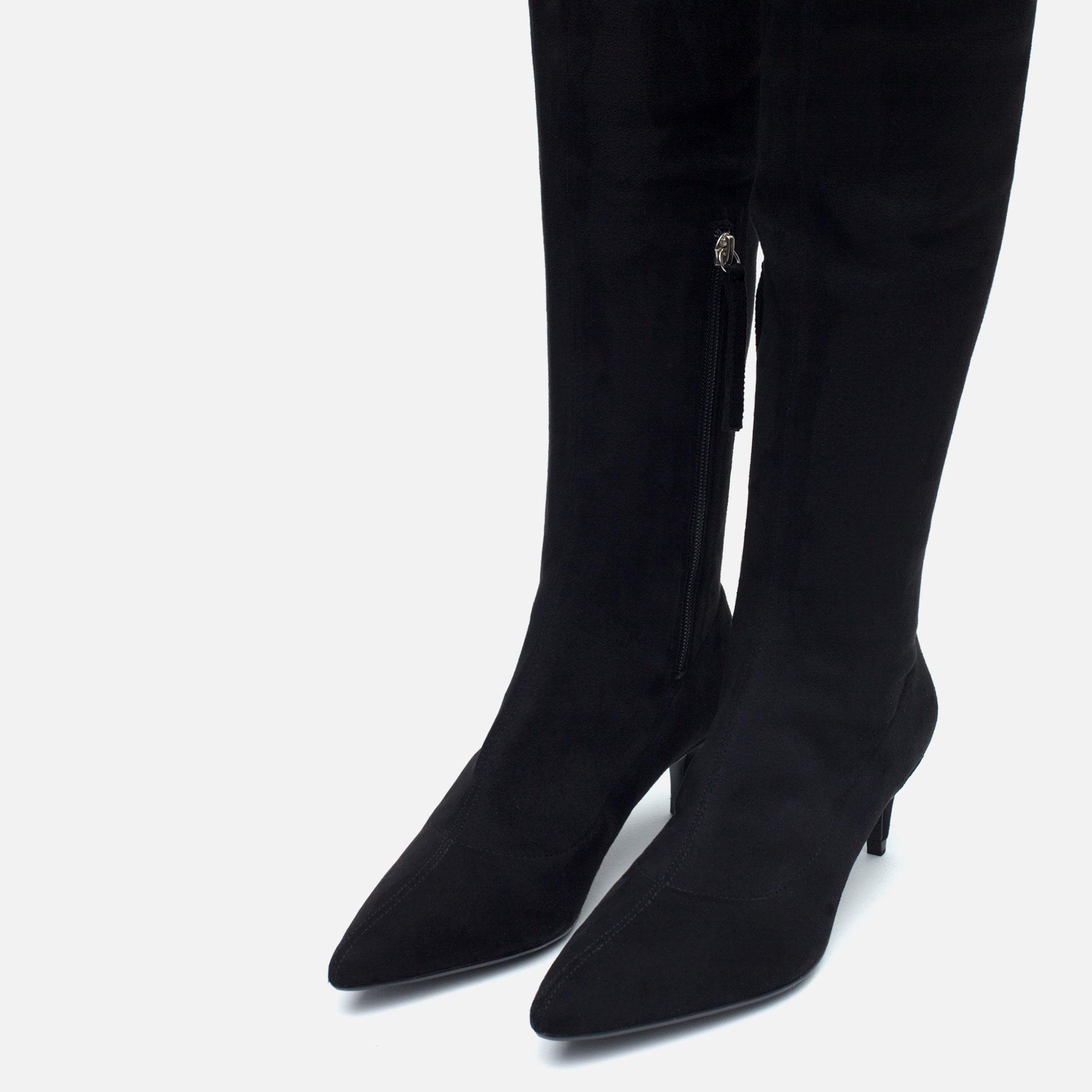 Zara Over The Knee Kitten Heel Boots in Black | Lyst