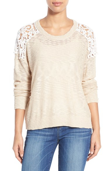 Dex Lace Inset Sweater in White | Lyst