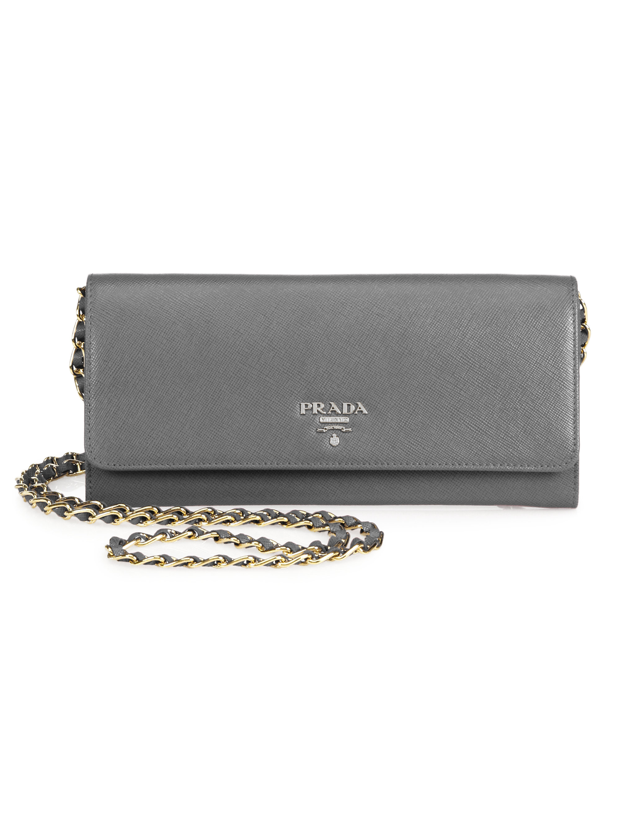 prada bags sale online - Prada Saffiano Metal Oro Chain Wallet in Gray (MARMO) | Lyst