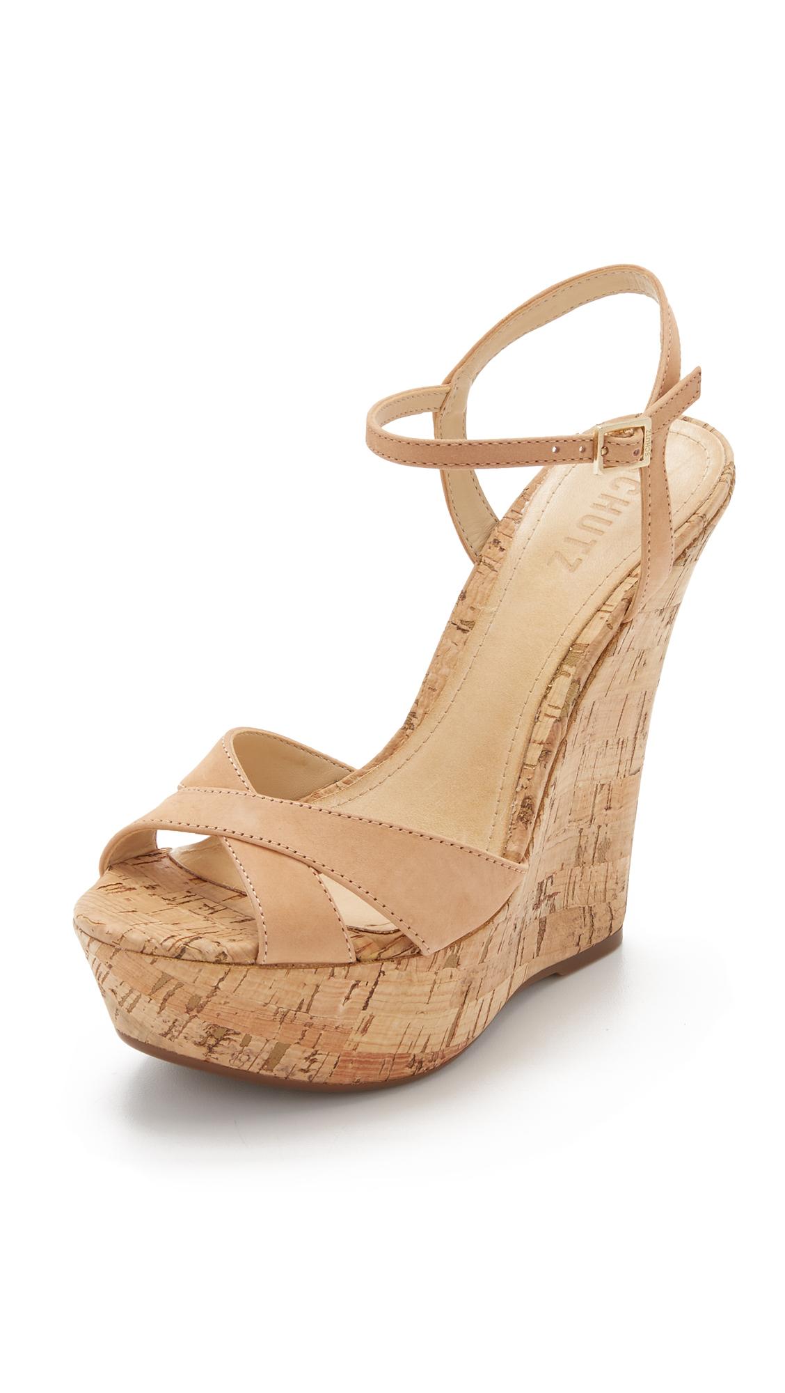 1cde7618867 Lyst - Schutz Emiliana Wedge Sandals in Brown