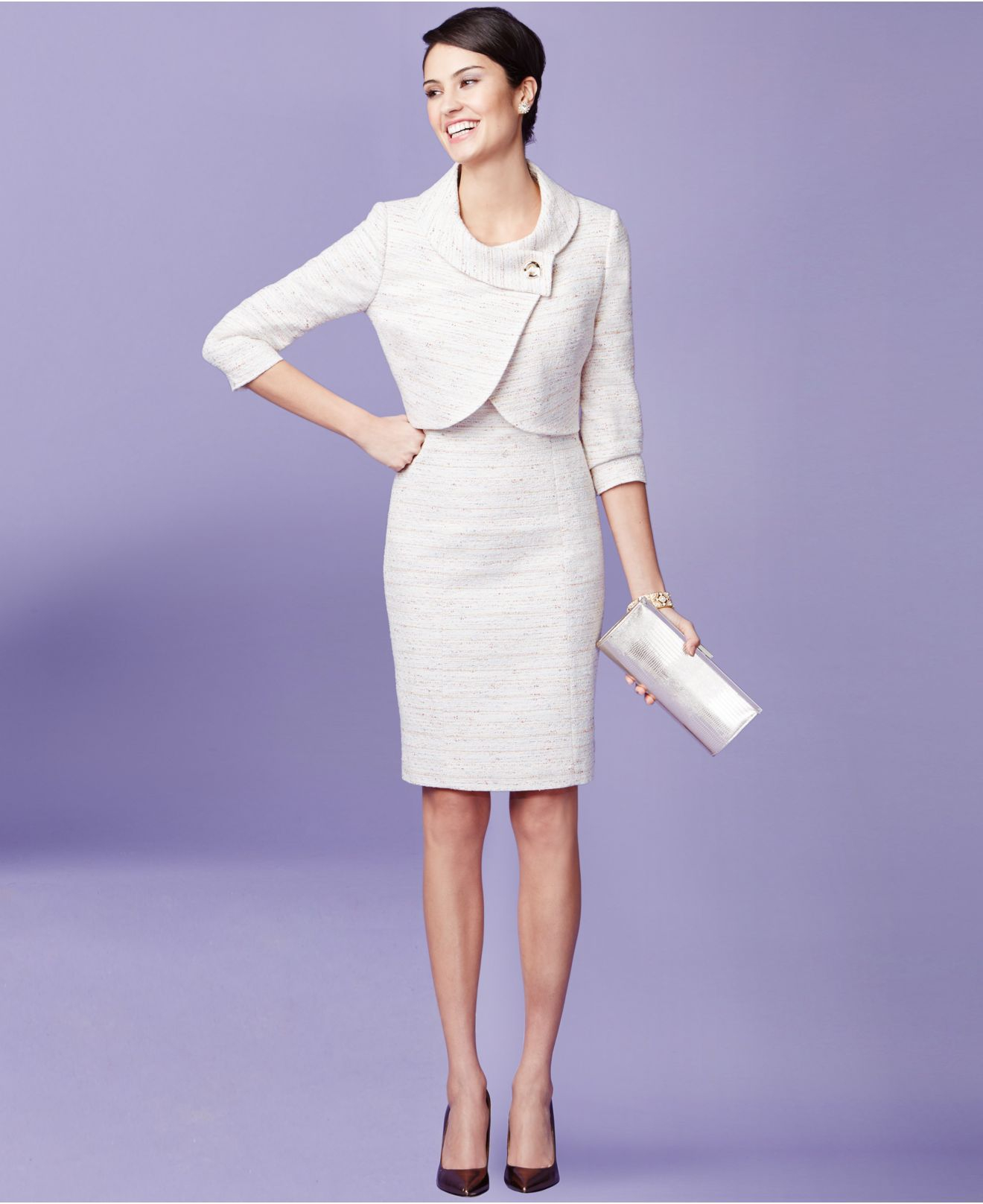 Lyst Tahari Tweed One Button Dress Suit In White