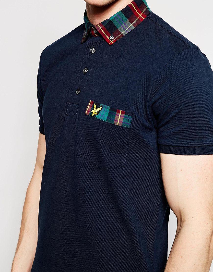 b25f07debb7b Lyst - Lyle   Scott Polo Shirt With Tartan Collar in Blue for Men