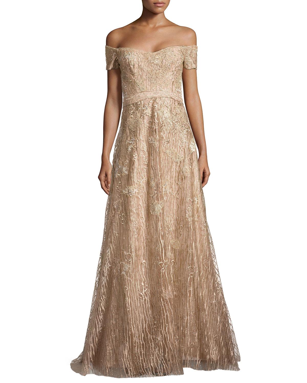 dcdb11671 Rene Ruiz Off-The-Shoulder Embroidered Gown in Metallic - Lyst