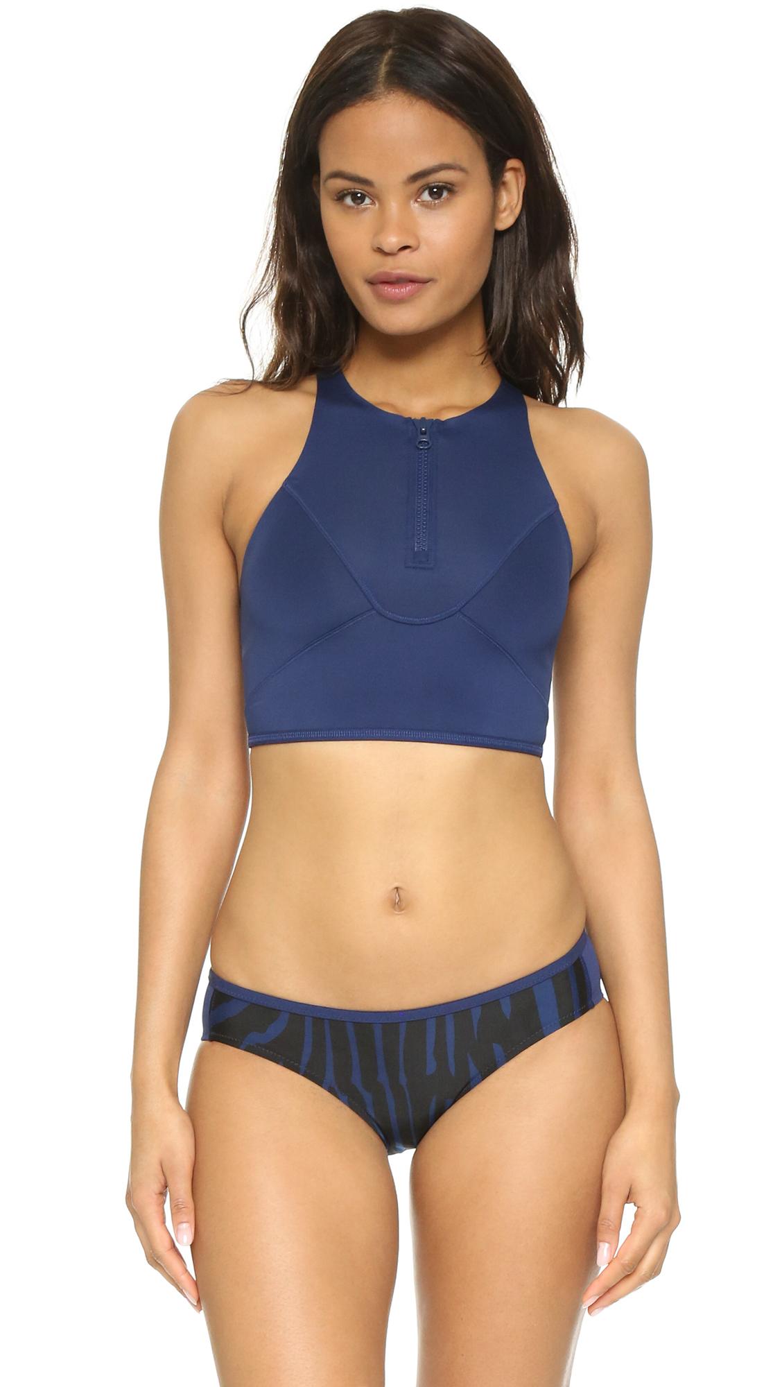 e43d91dd6e Lyst - adidas By Stella McCartney Zip Bikini Top in Blue