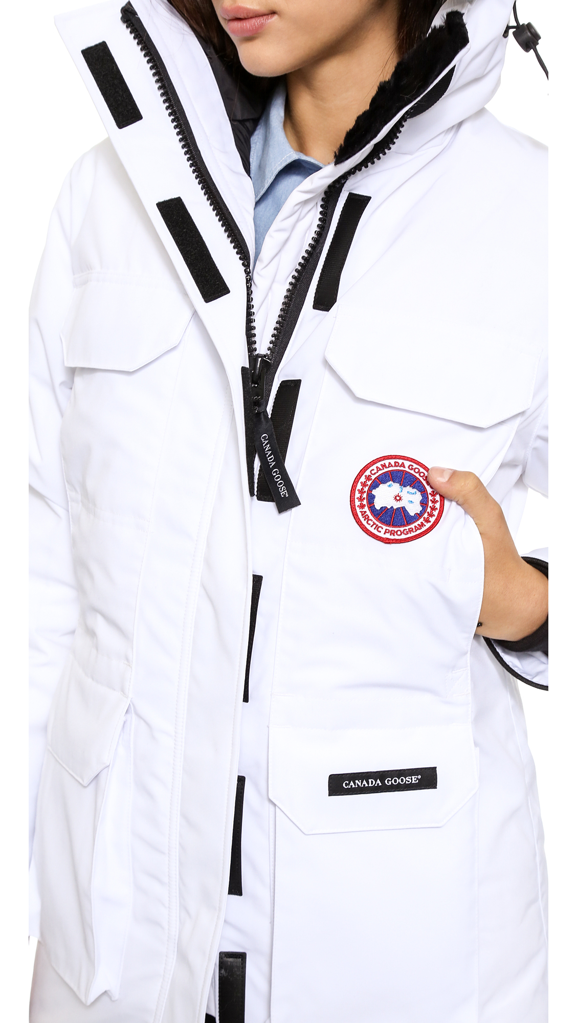 cheap canada goose expedition parka for women in white