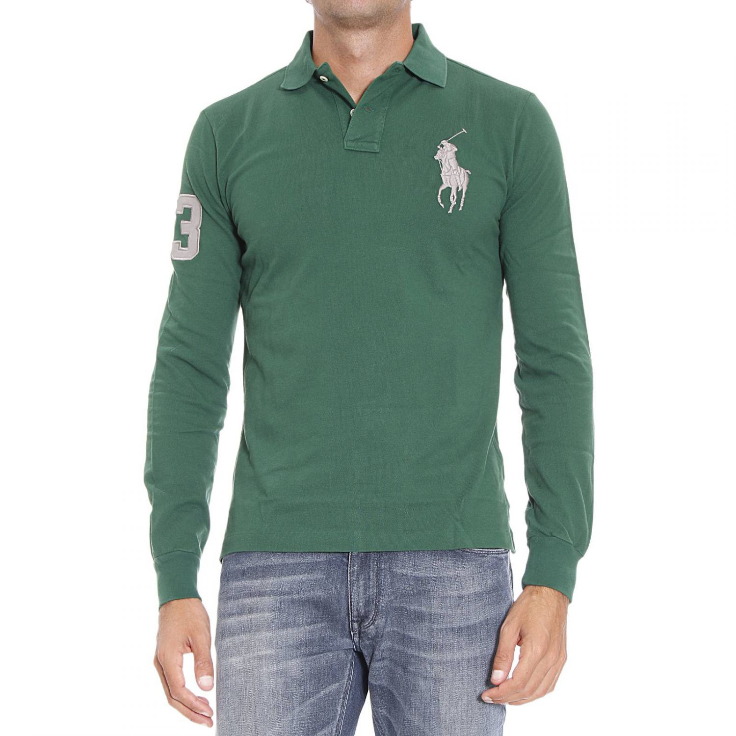 Polo ralph lauren green t shirt for men lyst for Forest green polo shirts