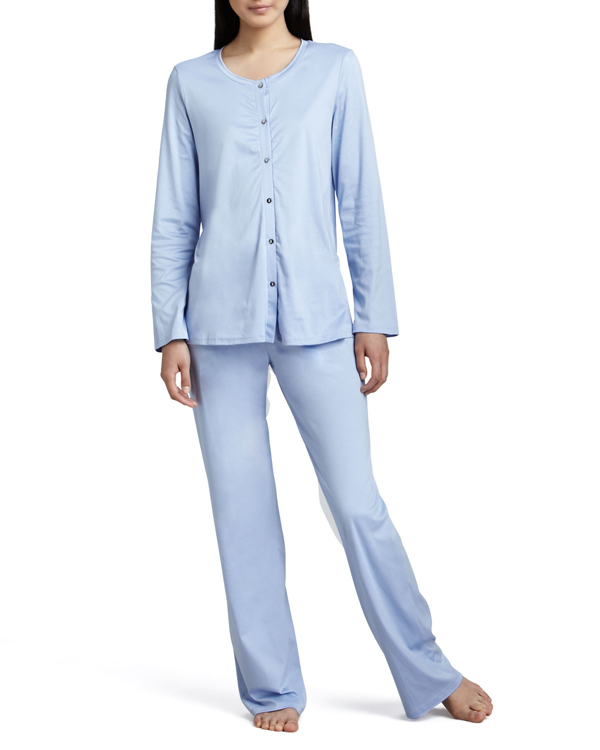 Hanro Tonight Button-up Pajamas in Blue | Lyst