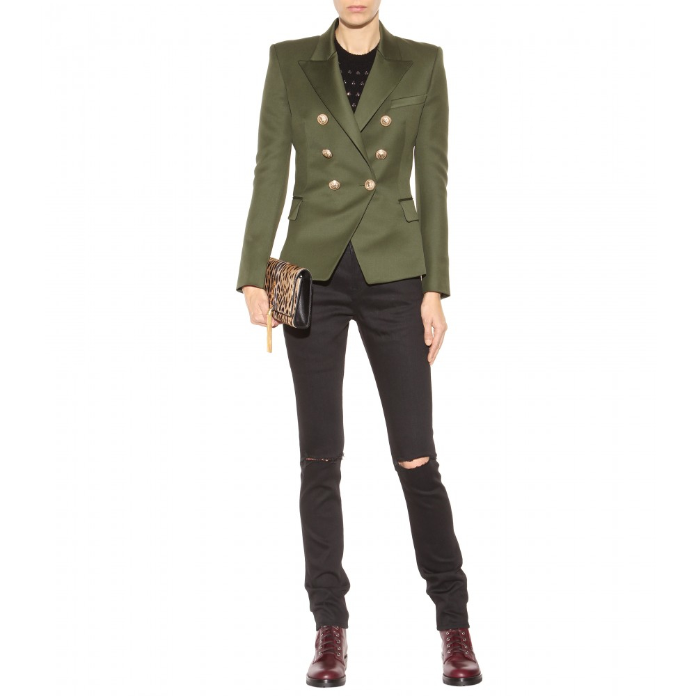 5f9e85e292b Balmain Double-Breasted Wool Jacket in Green - Lyst