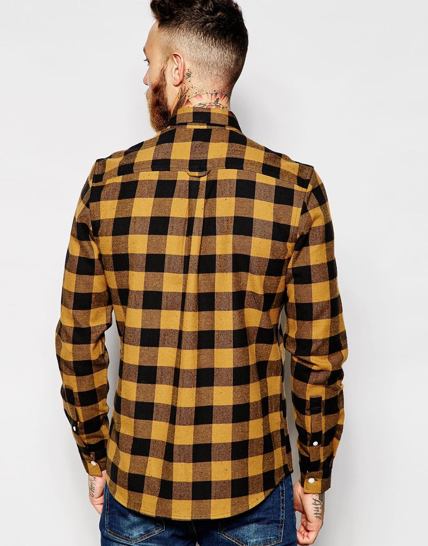 Lyst Asos Check Shirt In Buffalo Check With Neps In