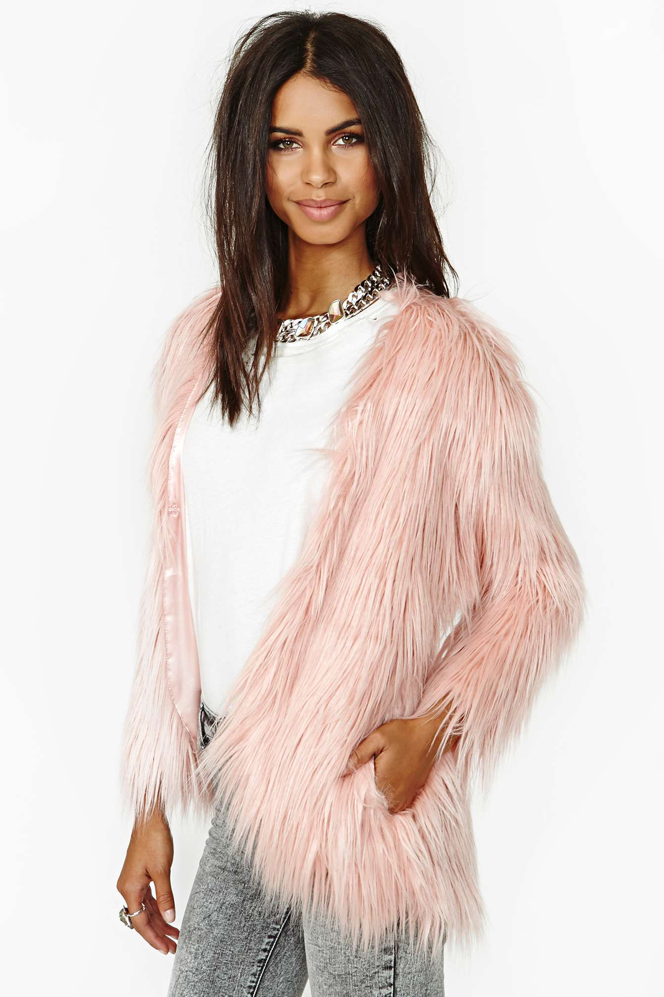 Nasty gal Fairy Floss Faux Fur Coat in Pink | Lyst