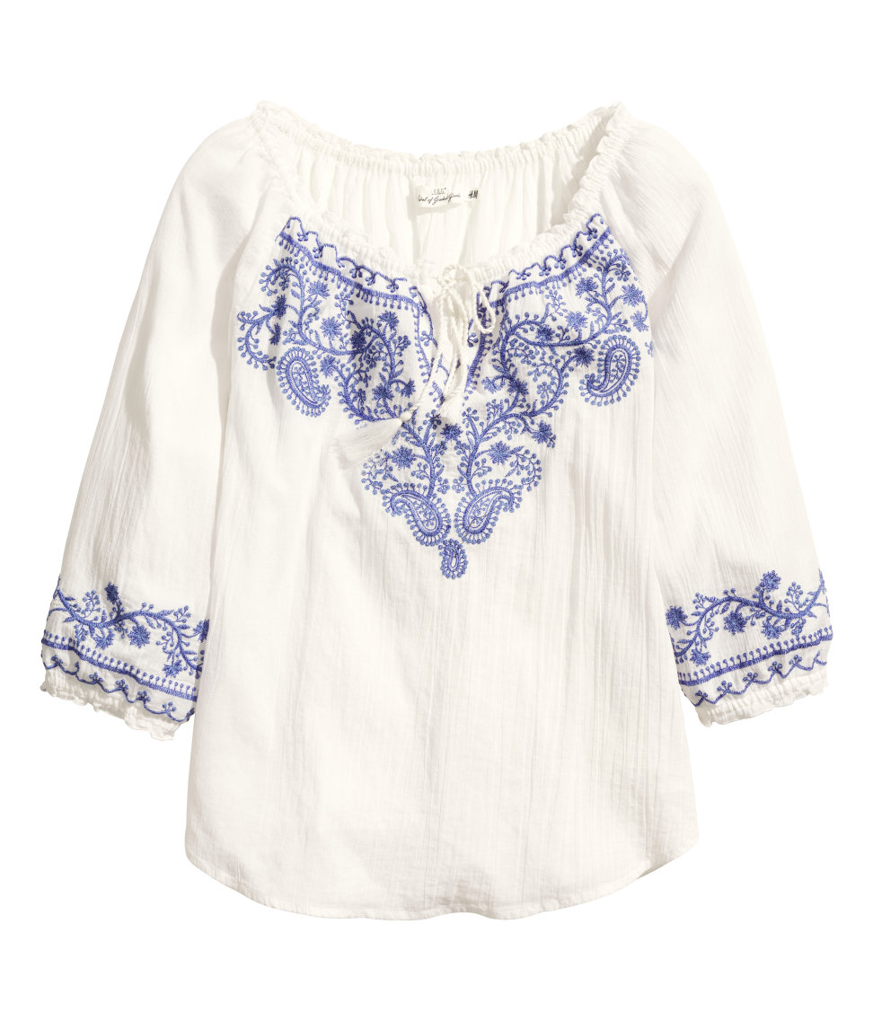 883a43d9ca723f H&M Bohemian Embroidered Blouse in White - Lyst