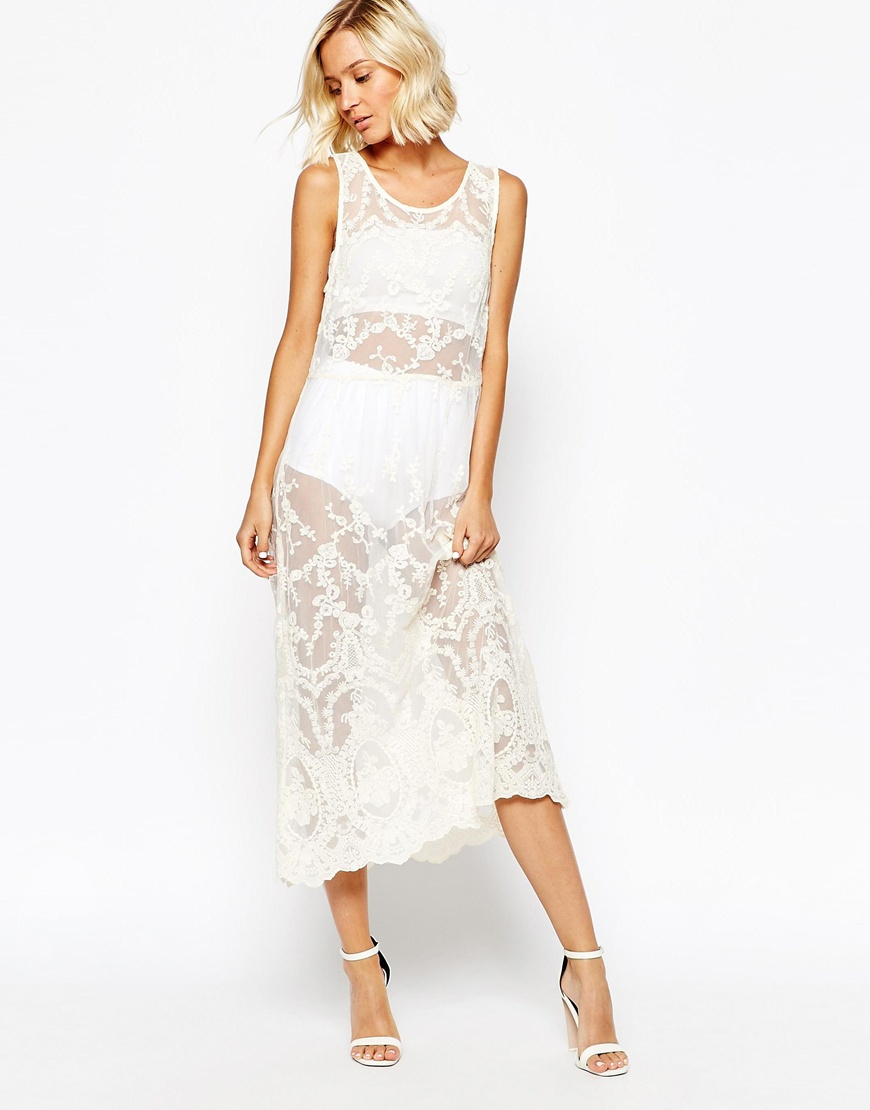 Lyst - Selected Benia Maxi Dress In Lace in White