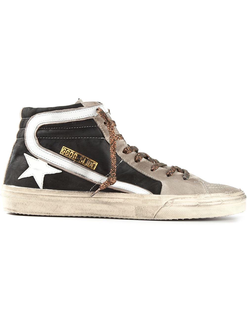 Oie D'or Enfants De Luxe De Marque Chaussures De Sport De Diapositives Haute-top - Noir x6lLqN
