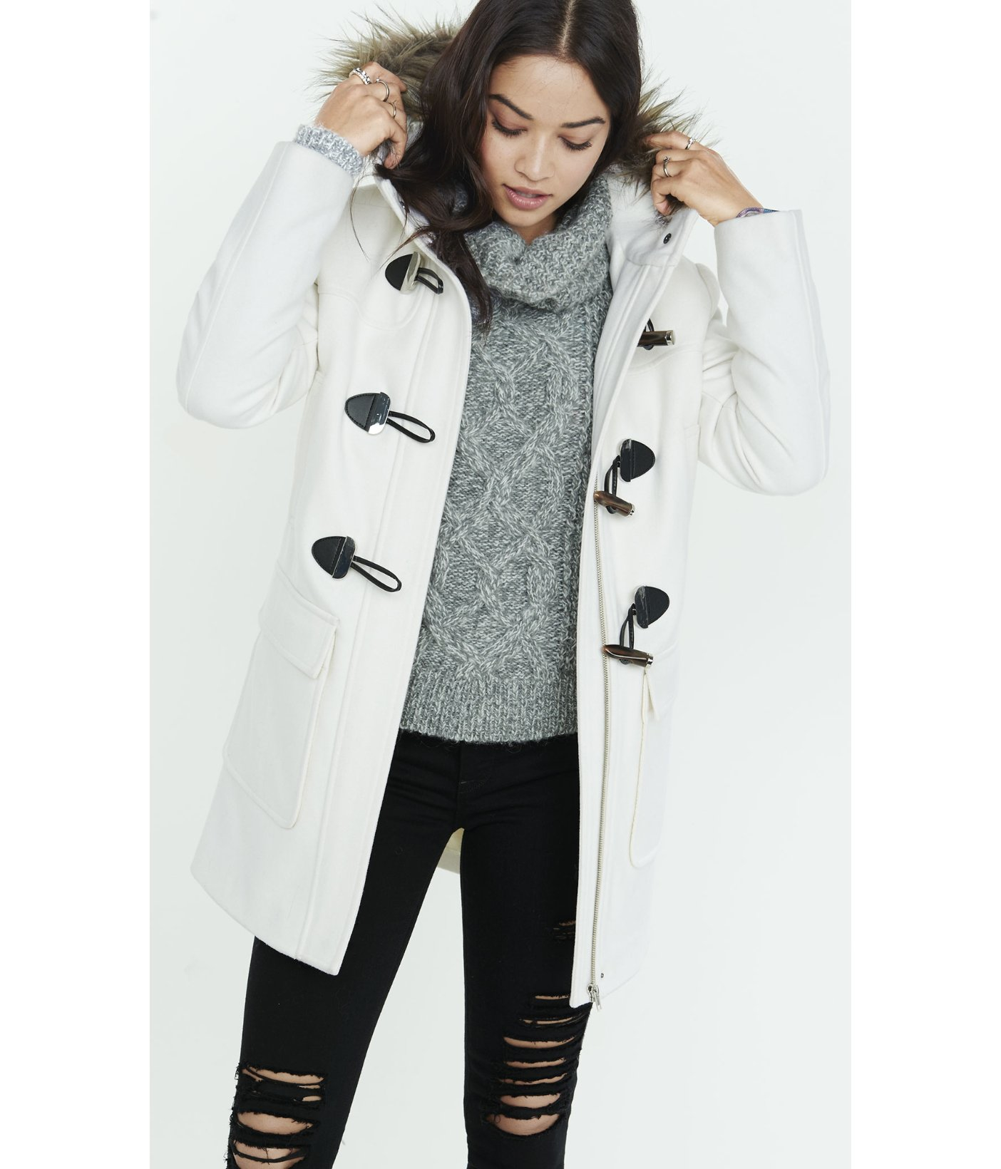 Express Toggle Duffle Coat in White | Lyst
