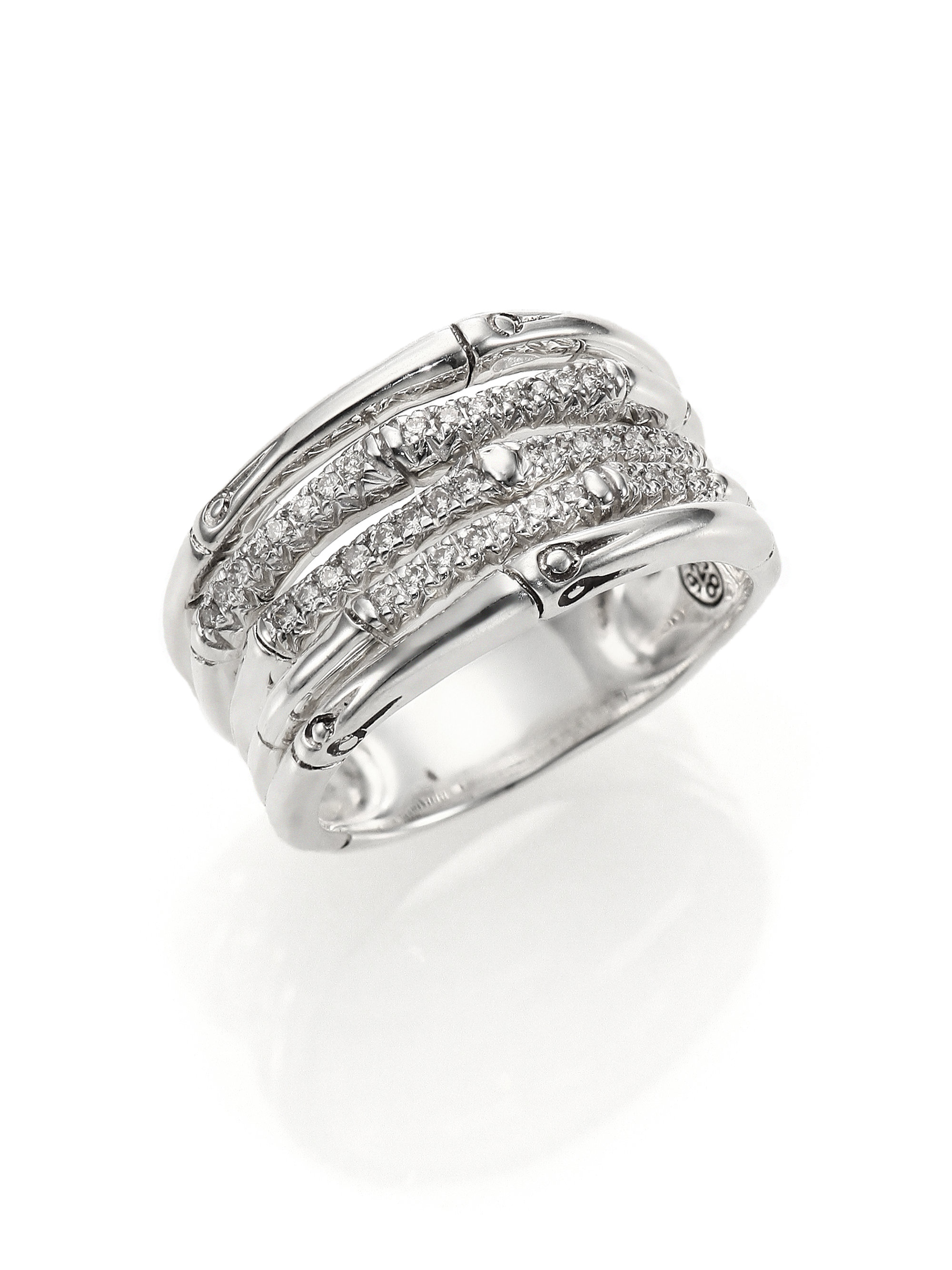 John Hardy Bamboo Diamond Amp Sterling Silver Five Row Ring