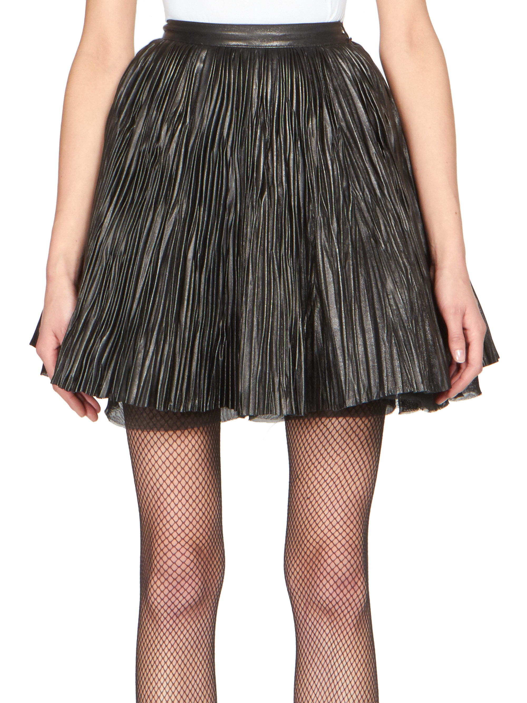 Lyst Saint Laurent Pleated Leather Skirt In Black