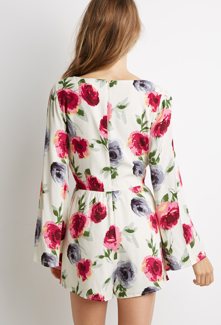 55a3a2aa76f3 Forever 21 - Multicolor Bell-sleeved Floral Print Romper You ve Been Added  To