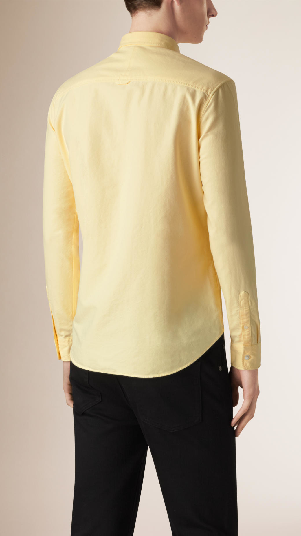 Lyst burberry slim fit cotton oxford shirt in yellow for men for Slim fit cotton shirts
